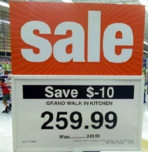 Sign for minus 10 dollars off sale.